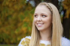 Portrait close up of young beautiful blonde girl Royalty Free Stock Photos