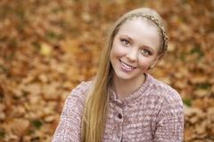 Portrait close up of young beautiful blonde girl Stock Photo
