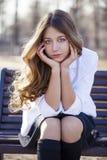 Portrait close up of young beautiful blonde schoolgirl Stock Image