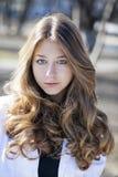 Portrait close up of young beautiful blonde schoolgirl Stock Photo