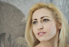 Portrait close up of young beautiful blonde woman Royalty Free Stock Photo