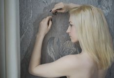 Portrait close up of young beautiful blonde woman Stock Photography
