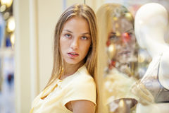 Portrait close up of young beautiful blonde woman Royalty Free Stock Photos