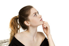 Portrait close up of young beautiful blonde woman Stock Images