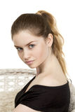 Portrait close up of young beautiful blonde woman Stock Photo