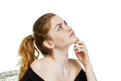 Portrait close up of young beautiful blonde woman Royalty Free Stock Photography