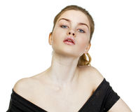 Portrait close up of young beautiful blonde woman Royalty Free Stock Image