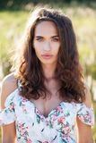Portrait close up of young beautiful brunette woman Stock Photo