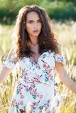 Portrait close up of young beautiful brunette woman Royalty Free Stock Images