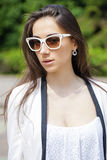 Portrait close up of young beautiful brunette woman Royalty Free Stock Photography