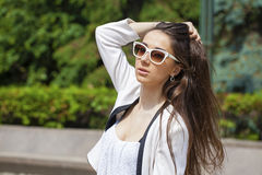 Portrait close up of young beautiful brunette woman Stock Photography