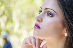 Portrait close up of young beautiful woman Stock Photos
