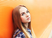 Portrait closeup beautiful young girl over colorful Royalty Free Stock Photo