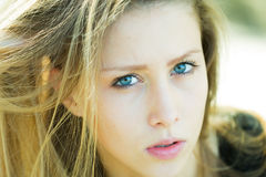 Portrait closeup of pretty girl Stock Photos