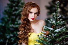 Portrait closeup redhead sensual girls in the trees.  Stock Photo