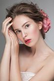 Portrait closeup of young sensual woman. Stock Images