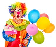Portrait of clown. Portrait of clown with balloon. Isolated Stock Photography