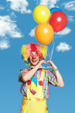 Portrait Clown With Balloons Stock Image
