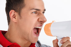 Portrait of coach with megaphone. Stock Images