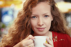 Portrait with coffee c Royalty Free Stock Photo
