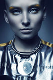 Portrait of cold space woman Royalty Free Stock Images