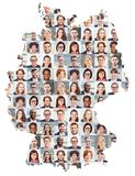 Germany map business portrait collage. Portrait collage of business people on Germany map as business concept stock photos
