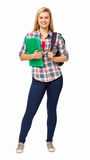 Portrait Of College Student With Backpack And File Royalty Free Stock Photos