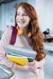 Portrait of college student with headphones Royalty Free Stock Photography