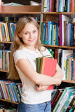 Portrait of a college student in library Royalty Free Stock Photo