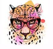 Portrait coloré de caractère de Guepard Photo stock