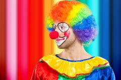 Portrait of a colorful clown. Portrait of an expressive clown Royalty Free Stock Photo