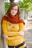 Portrait of a colorful fall fashion girl. Royalty Free Stock Photo