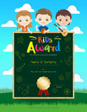 Portrait colorful kids award diploma certificate template in car. Toon style with happy boy and girl Stock Images
