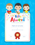 Portrait colorful kids award diploma certificate template in car Royalty Free Stock Photo