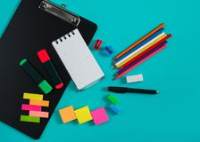Colorful stationary mockup. Portrait of colorful stationary mockup on blue pastel background Royalty Free Stock Photography