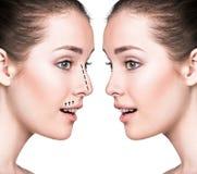 Portrait comparatif de visage femelle Photos libres de droits