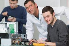 Portrait computer technician in training. Portrait of computer technician in training stock image
