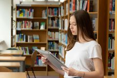 Student girl in a library. Portrait of a concentrated girl standing reading in the school library stock photo