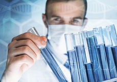 Portrait of concentrated male scientist working with reagents in laboratory Royalty Free Stock Image