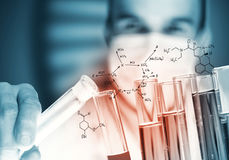 Portrait of concentrated male scientist working with reagents in laboratory Royalty Free Stock Photography