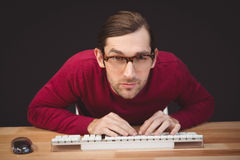 Portrait of concentrated man working on computer Royalty Free Stock Images