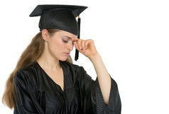 Portrait of concern graduation woman Stock Photography