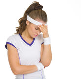 Portrait of concerned female tennis player Stock Images