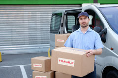 Portrait of confidence express courier Royalty Free Stock Images