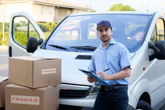 Portrait of confidence express courier Royalty Free Stock Photography