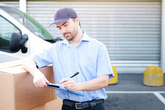 Portrait of confidence express courier Stock Images
