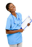 Portrait confident African American female doctor white backgrou Royalty Free Stock Photos