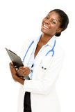Portrait confident African American female doctor white backgrou Stock Photos