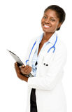 Portrait confident African American female doctor white background Stock Images