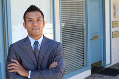 Portrait of a confident Asian lawyer outside. stock images